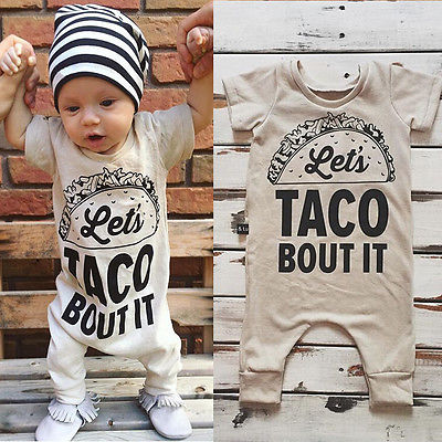 Let's TACO Bout It Onesie -  Hipster Kids Style. Youth Clothing and apparel Outfitters for hipster kids, toddlers, and babies.