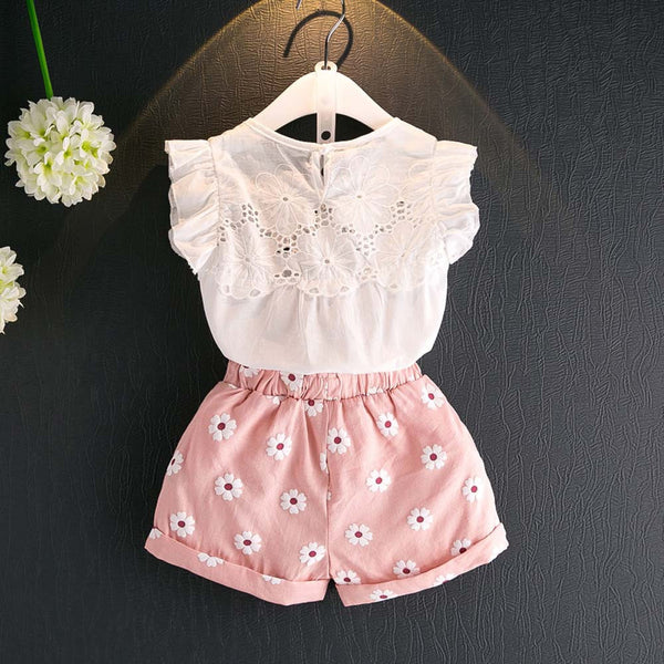 Pink Flower Shorts and Shirt 2pc Outfit -  Hipster Kids Style. Youth Clothing and apparel Outfitters for hipster kids, toddlers, and babies.