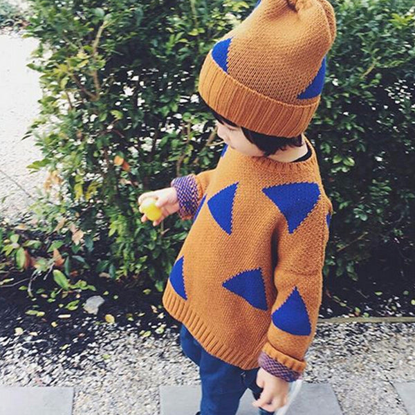 Autumn Blue Triangle Sweater -  Hipster Kids Style. Youth Clothing and apparel Outfitters for hipster kids, toddlers, and babies.