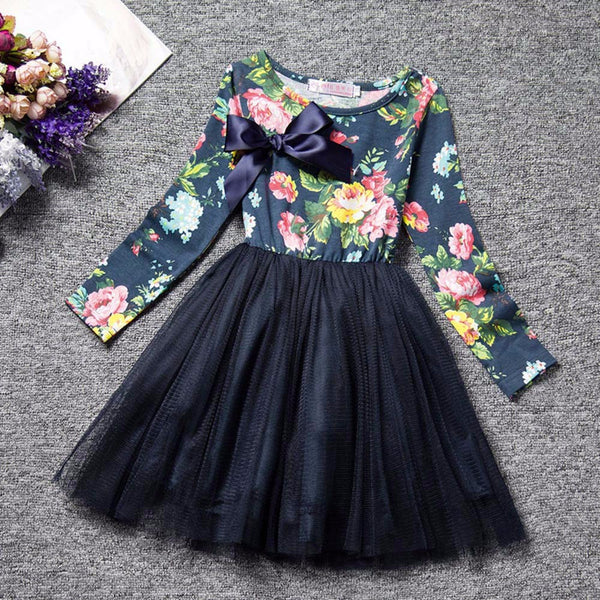 Long Sleeve Autumn Floral Print  Dress -  Hipster Kids Style. Youth Clothing and apparel Outfitters for hipster kids, toddlers, and babies.