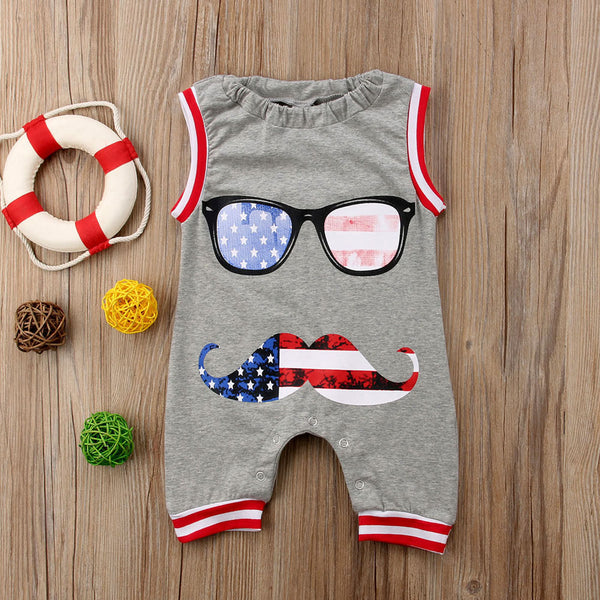 America Moustache Glasses Sleeveless Baby Onesie -  Hipster Kids Style. Youth Clothing and apparel Outfitters for hipster kids, toddlers, and babies.