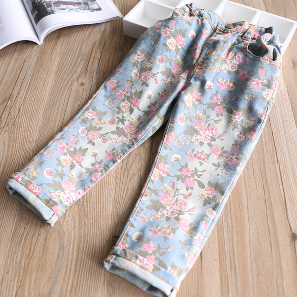 Floral Denim Jeans -  Hipster Kids Style. Youth Clothing and apparel Outfitters for hipster kids, toddlers, and babies.