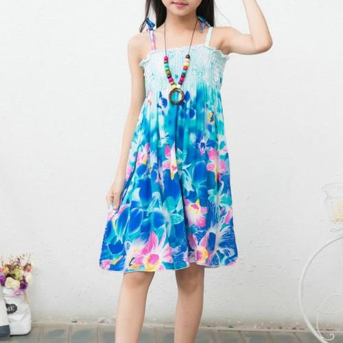 Flower Blue Summer Bohemian Sundress -  Hipster Kids Style. Youth Clothing and apparel Outfitters for hipster kids, toddlers, and babies.