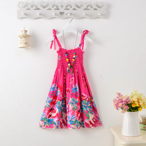 Hot Pink Floral Design Summer Bohemian Style Dress -  Hipster Kids Style. Youth Clothing and apparel Outfitters for hipster kids, toddlers, and babies.