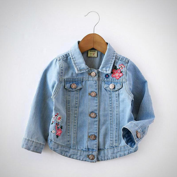 Girls Floral Embroidery Jean Jacket -  Hipster Kids Style. Youth Clothing and apparel Outfitters for hipster kids, toddlers, and babies.