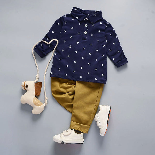 Blue Sailor Button Down with Khakis 2pc Outfit -  Hipster Kids Style. Youth Clothing and apparel Outfitters for hipster kids, toddlers, and babies.