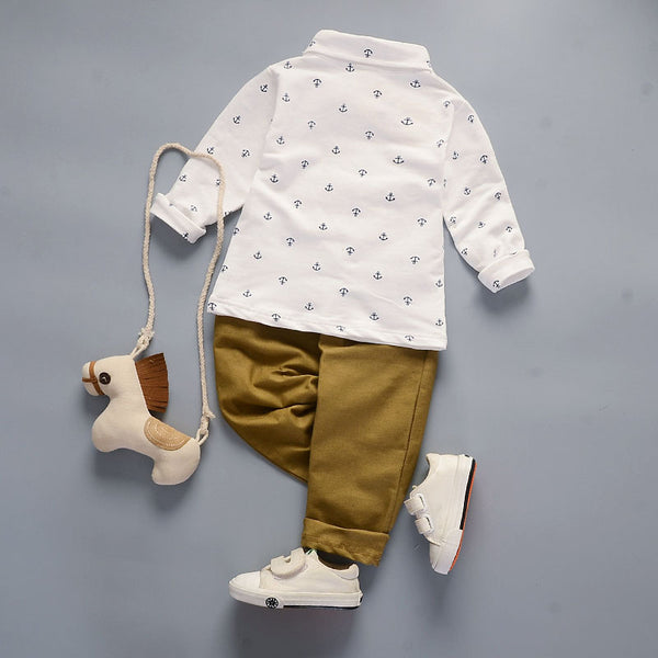 White Sailor Button Down with Khakis 2pc Outfit -  Hipster Kids Style. Youth Clothing and apparel Outfitters for hipster kids, toddlers, and babies.