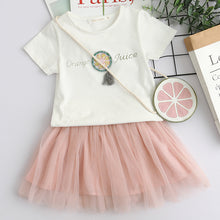 Summer Orange Juice White T-Shirt + Short skirt & Matching Bag 3pc outfit -  Hipster Kids Style. Youth Clothing and apparel Outfitters for hipster kids, toddlers, and babies.