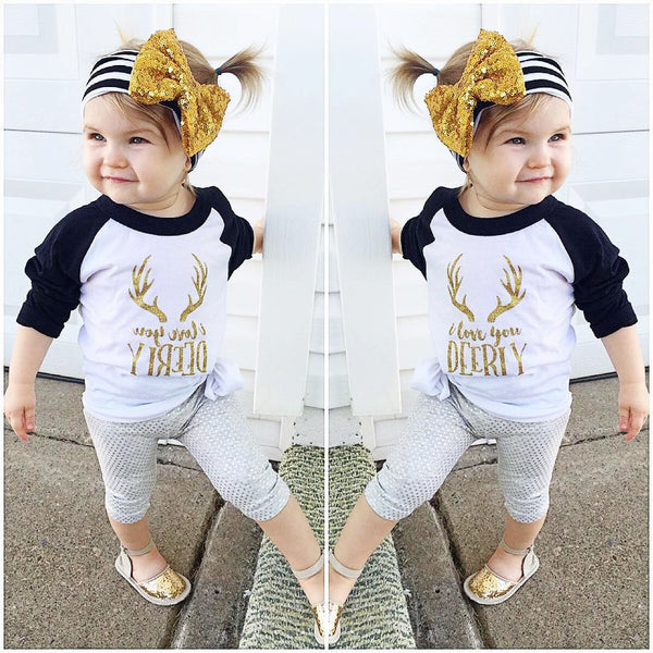 I Love You Deerly Long Sleeve T-Shirt -  Hipster Kids Style. Youth Clothing and apparel Outfitters for hipster kids, toddlers, and babies.