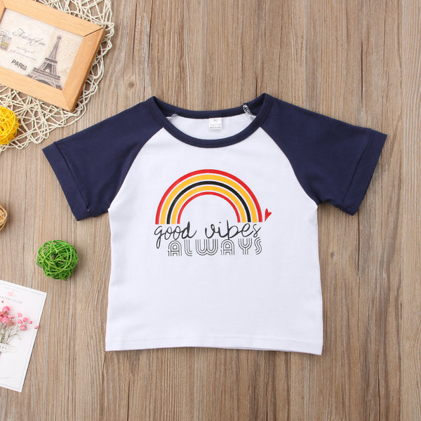 Good Vibes Always Rainbow T-Shirt -  Hipster Kids Style. Youth Clothing and apparel Outfitters for hipster kids, toddlers, and babies.