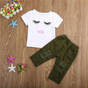 Eyelashes Top with Army Green Pants 2pc Outfit -  Hipster Kids Style. Youth Clothing and apparel Outfitters for hipster kids, toddlers, and babies.