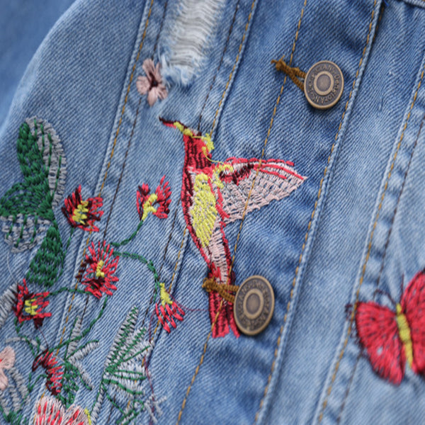Vintage Bird + Butterfly Jean Jacket -  Hipster Kids Style. Youth Clothing and apparel Outfitters for hipster kids, toddlers, and babies.
