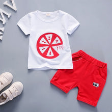 Pizza Letter Print T-Shirt + Matching Shorts Outfit -  Hipster Kids Style. Youth Clothing and apparel Outfitters for hipster kids, toddlers, and babies.