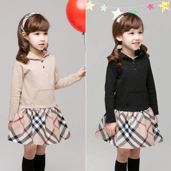 Pattern Long Sleeve Hooded Dress -  Hipster Kids Style. Youth Clothing and apparel Outfitters for hipster kids, toddlers, and babies.