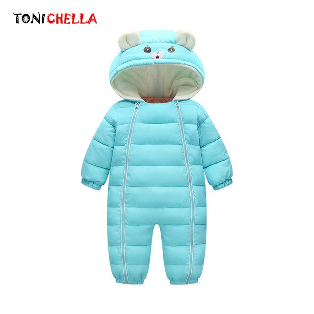 Baby Snowsuit Cotton Hooded Thick Warm Outwear Boys Or Girls