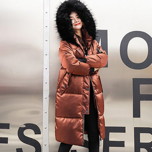 Women Solid Thicker Winter Overcoat Parka