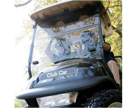Club Car with impact resistant windshield