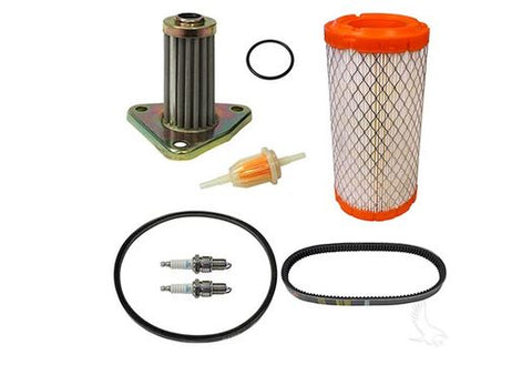 This deluxe tune up kit comes with an oil filter and is compatible with 1996-Present E-Z-GO 4 cycle 295cc and 350cc models.