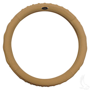 "Beige Leather Steering Wheel Cover (13.65""-14"") 