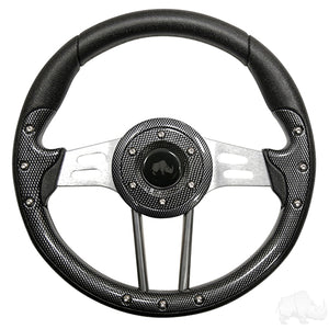 "13"" Aviator 4 Carbon Fiber/Brushed Aluminum Steering Wheel 