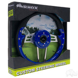 "13"" Aviator 4 Blue/Brushed Aluminum Steering Wheel Packaging 