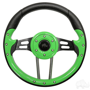 "13"" Aviator 4 Lime Green/Black Steering Wheel 