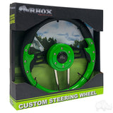 "13"" Aviator 4 Lime Green/Black Steering Wheel Packaging 
