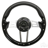 "13"" Aviator 4 Black/Brushed Aluminum Steering Wheel 