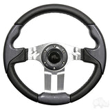 "13"" Aviator 5 Carbon Fiber/Brushed Aluminum Steering Wheel 