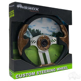 "13"" Aviator 5 Woodgrain/Brushed Aluminum Steering Wheel Packaging 