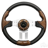 "13"" Aviator 5 Woodgrain/Brushed Aluminum Steering Wheel 