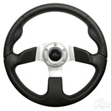 "13"" Formula GT Black/Brushed Aluminum Steering Wheel 