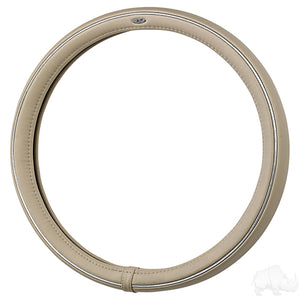 RHOX Beige/Chrome Steering Wheel Cover | Cart Parts Direct