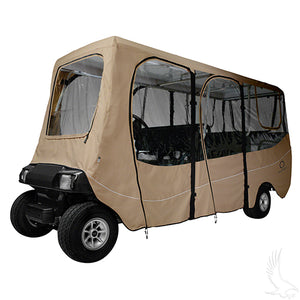 "Deluxe Sand 6 Passenger Enclosure for Carts w/ up to 126"" Tops 