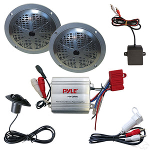 "Complete MP3 Kit w/ 100W Amplifier & Pyle 5 1/4"" Black Speakers 