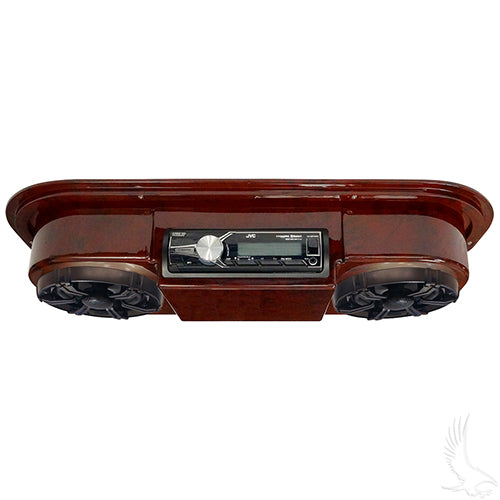 Woodgrain Console w/ JVC Marine Grade Receiver, Antenna, & Polk Audio Speakers | Cart Parts Direct