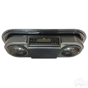 Carbon Fiber Console w/ Pyle Marine Grade Receiver, Antenna, & Speakers | Cart Parts Direct