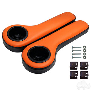Black/Orange Arm Rest Set w/ Cup Holders | Cart Parts Direct