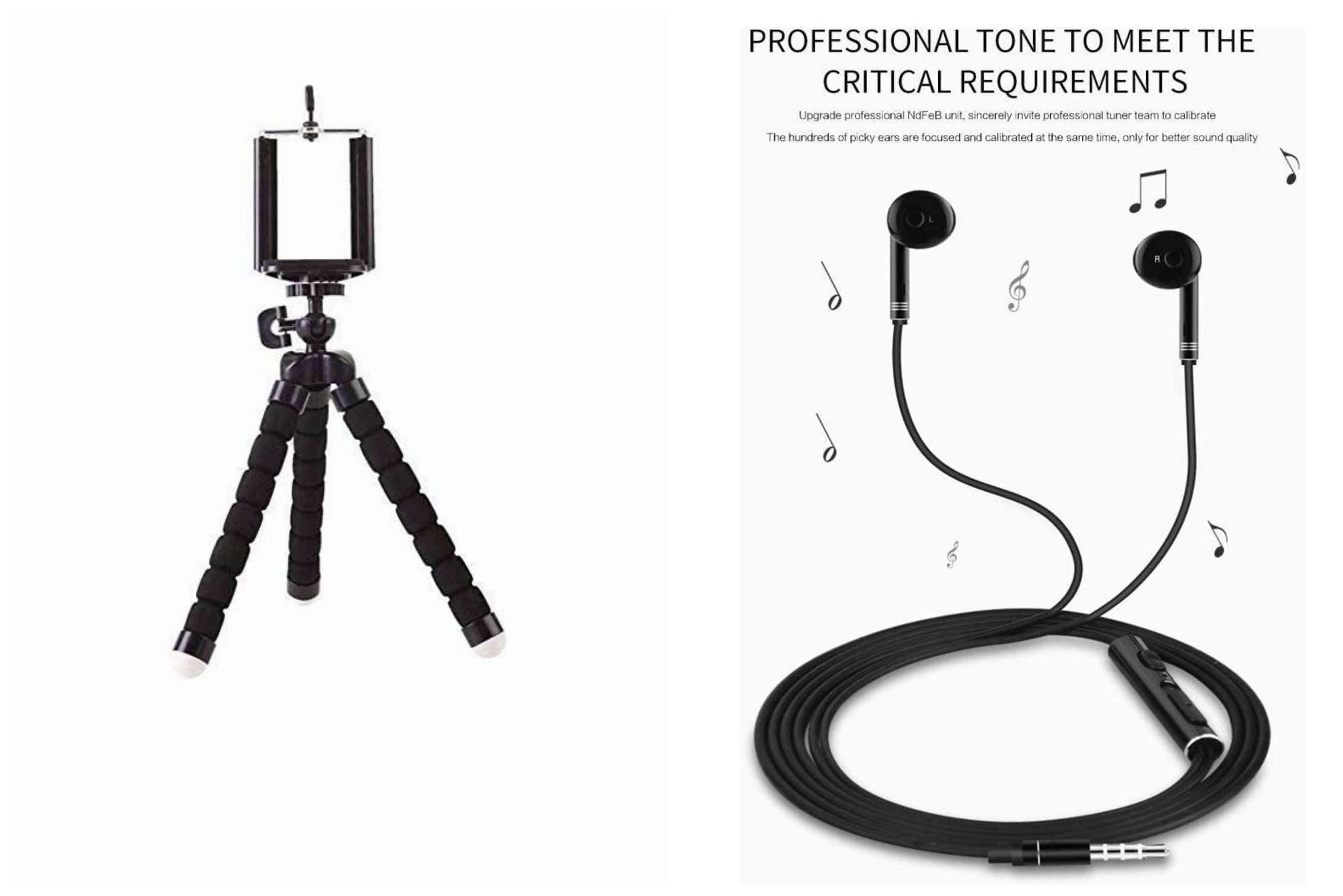 Earphone and tripod combo