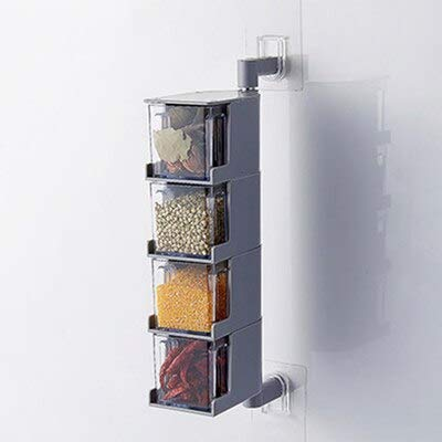 Acrylic Rotatable Kitchen Spice Rack Holder Wall-Mounted Plastic Transparent Seasoning Box for Spice Sets Without Handle (4 Layers)