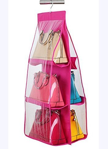 6-Pocket Hanging Storage Rack for Handbag, Color May Vary - gadgetbucketindia