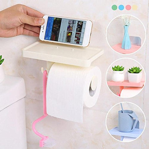 Multifunction Tissue Boxes Mobile Shelf Rack Roll Toilet Paper Storage Holder Bathroom Organizer (Random color) - gadgetbucketindia