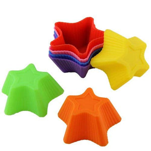 6 Pcs Silicone Round Cupcake and Muffin Cup Making Chocolate/Bread/Ice Cube | Nonstick, BPA Free (Star Shape, 6 Cup)