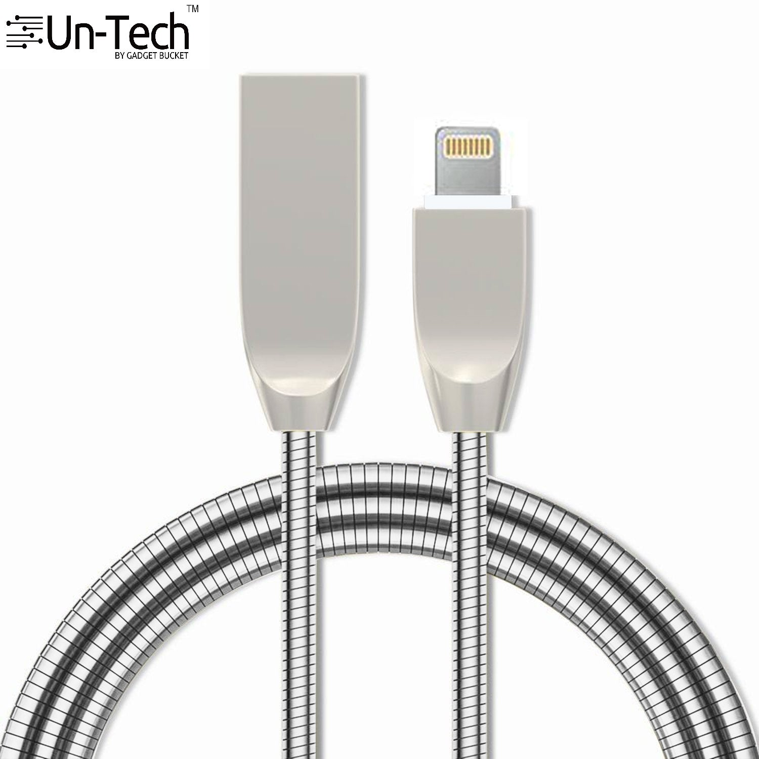 UnTech Metal Spring Shade (3.3ft/1M) 8 Pin to USB Fast Charging and Data Transfer Cord (Silver) - gadgetbucketindia