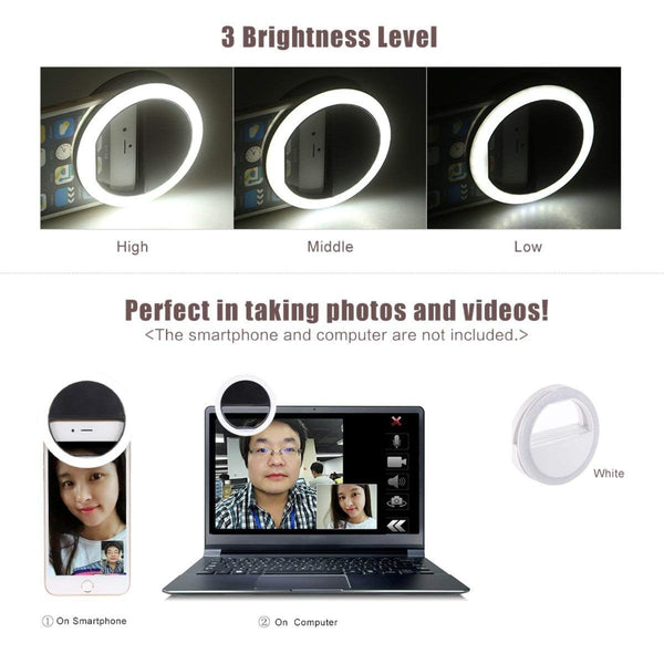 Portable Sockproof Selfie Beauty LED Ring Light for Tablets Smartphones etc (Multi Color) - gadgetbucketindia