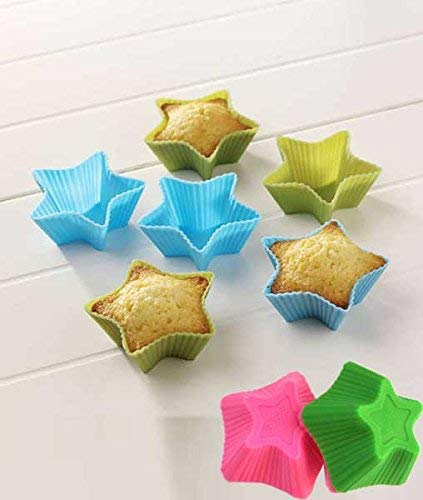 6 Pcs Silicone Round Cupcake and Muffin Cup Making Chocolate/Bread/Ice Cube | Nonstick, BPA Free (Star Shape, 6 Cup) - gadgetbucketindia