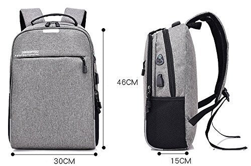 Ergode Nylon Grey Laptop Backpack with Set-in Charging Cable Lightweight Durable Water-Resistant