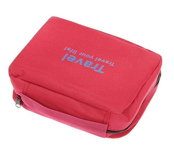 Multicolour Nylon Toiletry Bag Cosmetic Makeup Pouch with Multi Pockets Hook Toiletry Bag, Water Resistant Travel Kit - gadgetbucketindia
