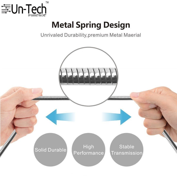 UnTech Metal Spring Shade (3.3ft/1M) 8 Pin to USB Fast Charging and Data Transfer Cord (Silver)