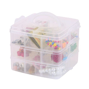 Ergode 3 Layers Detachable DIY Desktop Storage Box Transparent Plastic Storage Box Jewelry Organizer Holder Cabinets for Small Objects Multicolor